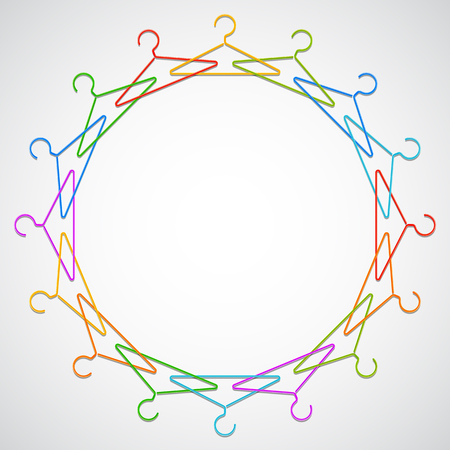 Color hangers arranged in circle. Vector