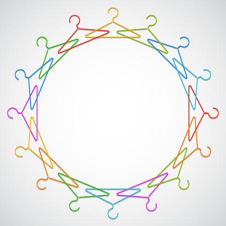 coat rack: Color hangers arranged in circle.