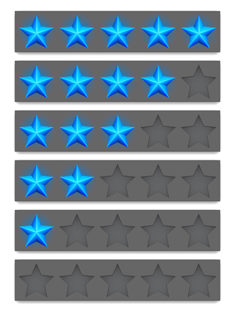 Collection of blue rating stars. Vector