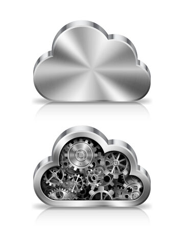 metal parts: Metal cloud icon with machine parts inside. Illustration