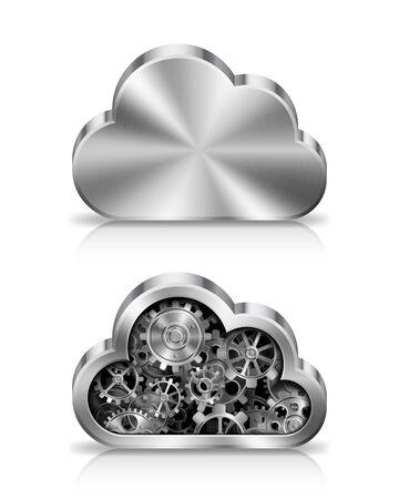 maschinenteile: Metall Wolke Symbol mit Maschinenteilen im Inneren. Illustration
