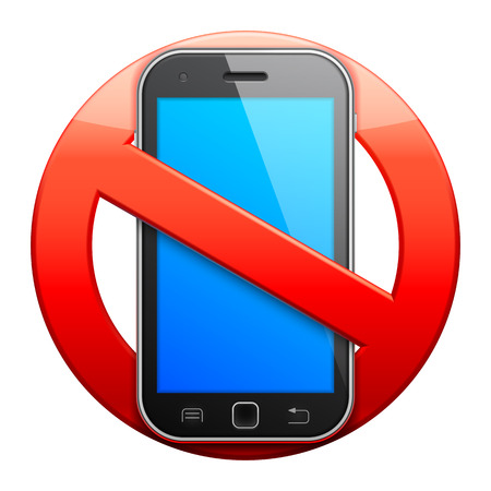 cell phones not allowed: No cell phone sign.
