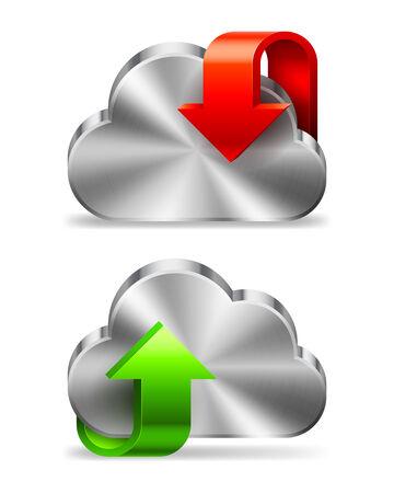 uploading: Icona Nube con il download e l'upload di segno.