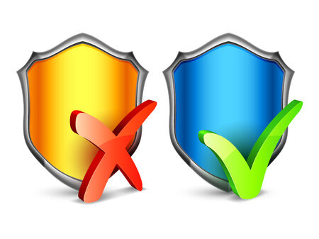Color security shields with check symbols. Vector