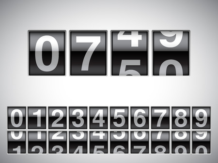 Counter with all numbers on white background. Vettoriali