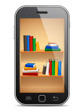 digital library: Mobile phone with bookshelves on screen.