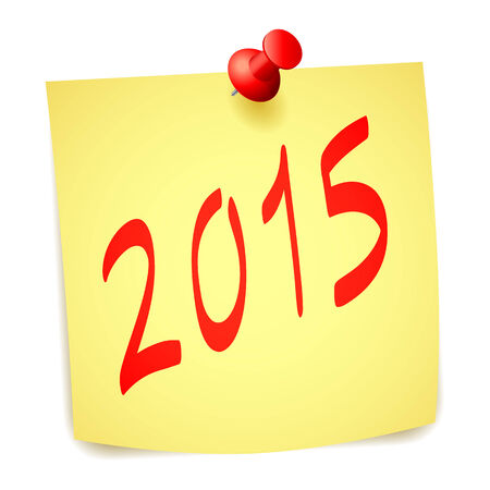 paper note: Pinned 2015 New Year paper note.