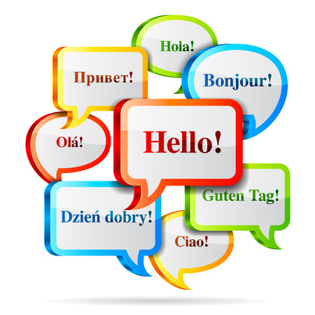 text: Group of color hello speech bubbles in different languages. Illustration