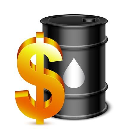 barell: Black oil barrel and golden dollar sign
