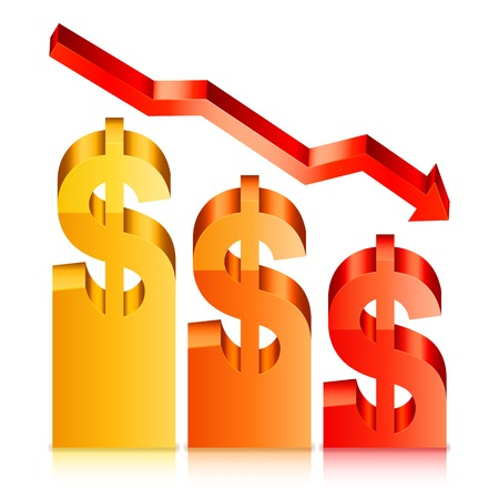 displaying: Vector illustration of financial graph displaying falling dollar rate Illustration