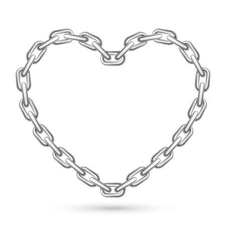 흰색 배경에 금속 심장 모양의 체인