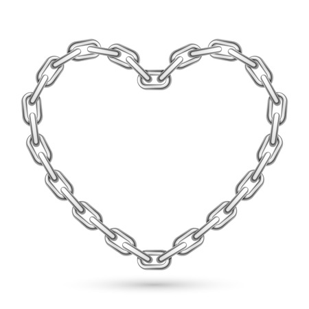 Metal heart shaped chain on white background Illustration