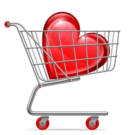 Big red love heart in shopping cart Vector