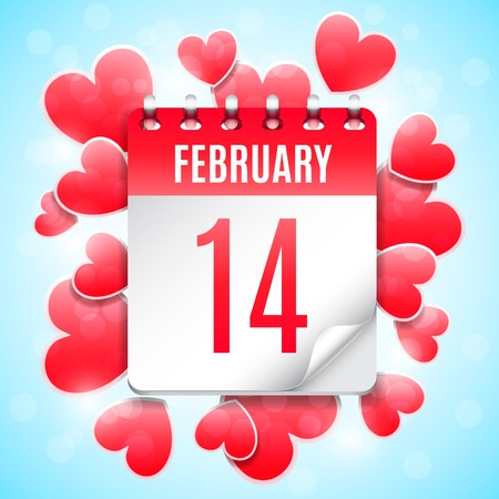 14 february: Calendar with 14 february date on bright background