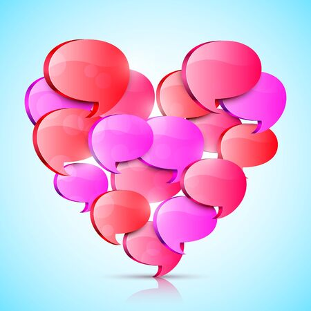 talk big: Big heart made of red talk bubbles Illustration