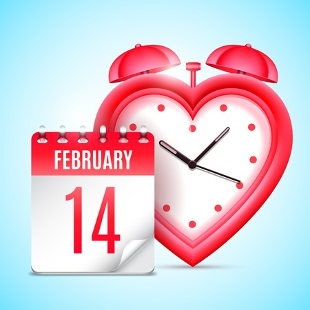 14 of february: Heart shaped clock and calendar with 14 february date