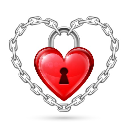 held down: Shiny red heart lock held down by metal chains Illustration