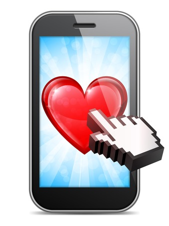 mouse cursor: Mobile phone with heart on display and computer mouse cursor Illustration