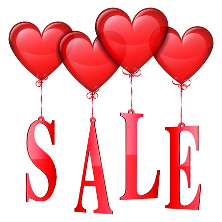 anniversary sale: Heart shaped balloons with sale advertisment on white background