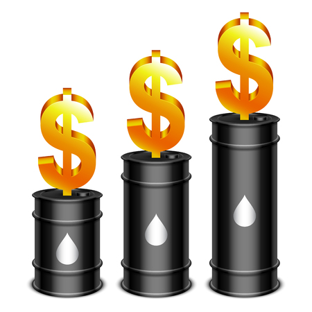 barell: Black oil barrels and golden dollar sign