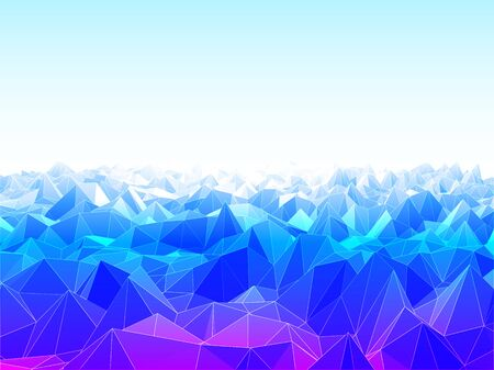 Vector illustration of low poly landscape with mountains