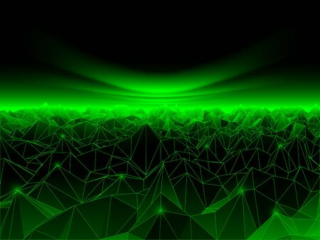 cyberspace: Vector illustration of low poly cyberspace background