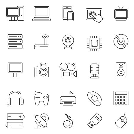 photo printer: Set of 25 thin line computer technology and electronics icons