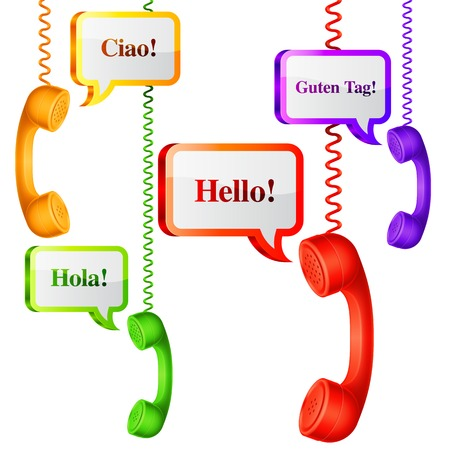 Phone handset with hello speech bubbles in different languages Vector
