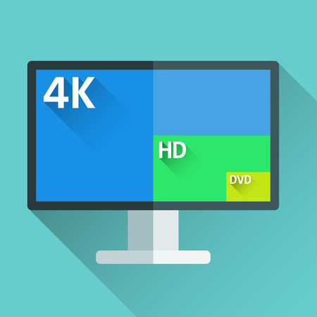 flat screen tv: Flat long shadow tv icon with different screen resolutions