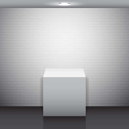 Empty white stand against white brick wall Vector