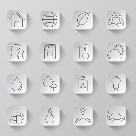 thin bulb: Set of 16 thin line ecology and environment icons