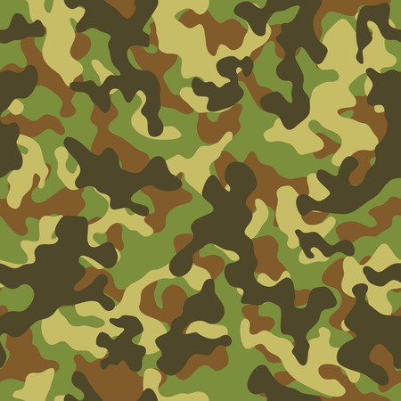military uniform: Vector illustration of woodland camouflage seamless pattern