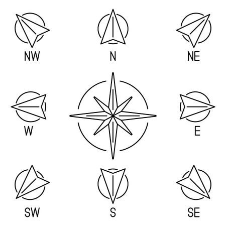 compass rose: Thin line compass wind rose with 8 directions