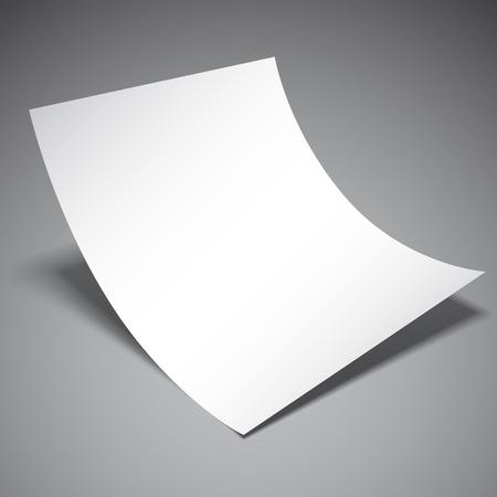 hoja en blanco: Vacía la hoja de papel blanco sobre fondo gris