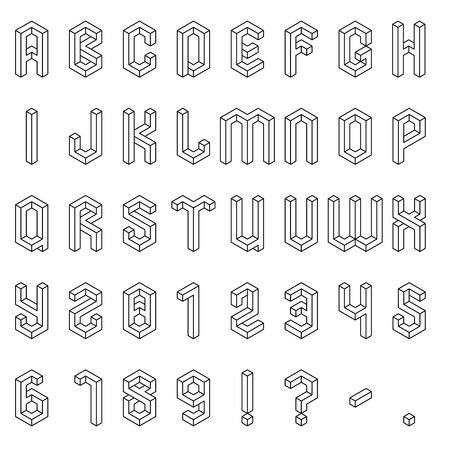 Full set of isometric alphabet and numbers Illustration