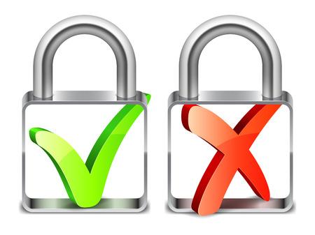 padlocks: Two padlocks with check symbols on white background Illustration