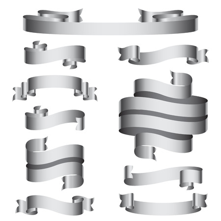scroll: Set of 10 grey empty ribbons and banners