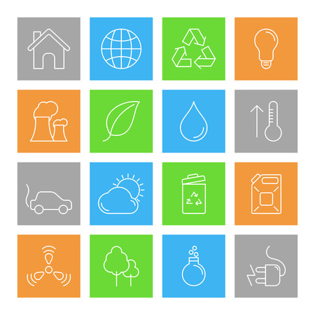 energy icon: Set of 16 thin line ecology and environment icons