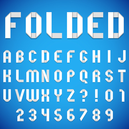 white letters: Full alphabet of folded white paper font Illustration
