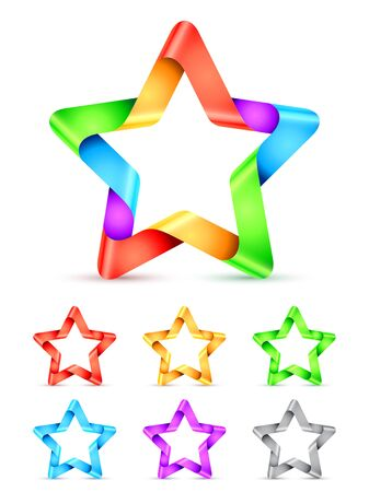red star: Set of 7 folded color paper stars
