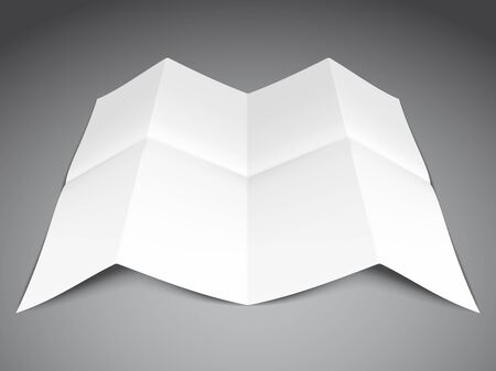 folded paper: Folded white paper sheet on grey background