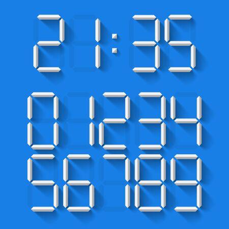 digital clock: Set of 10 white digital clock numbers Illustration