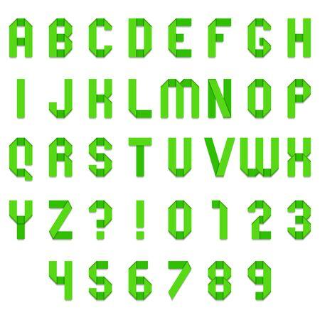 folded paper: Full alphabet of green folded paper font