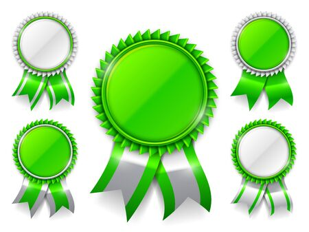medal: Set of 5 green award medals with ribbons