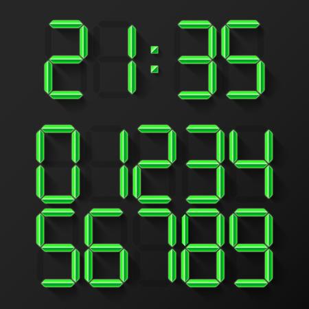 digital clock: Set of 10 green shining digital clock numbers Illustration