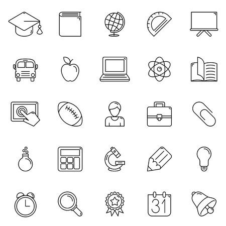 icono computadora: Conjunto de 25 iconos de la educación de línea delgada Vectores