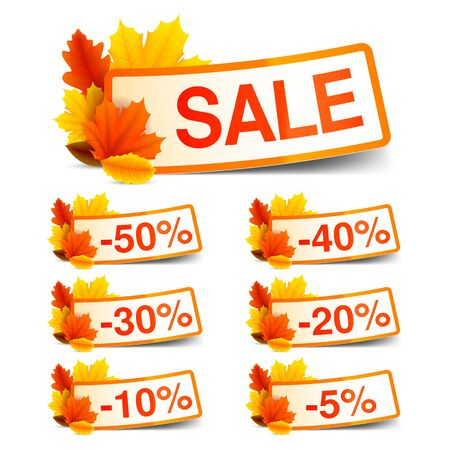 sale: Collection of autumn sale discount tags with color leaves Illustration