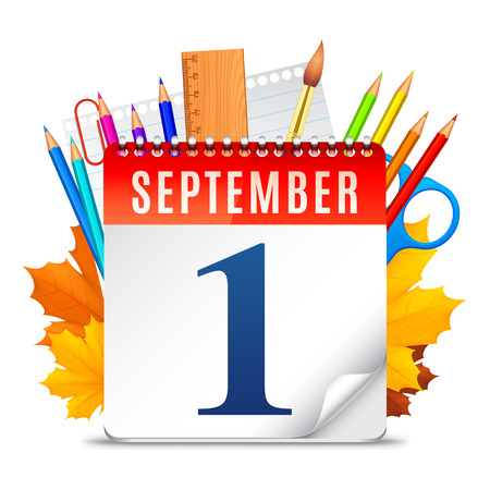 first day of school: Education symbols behind calendar with first September date