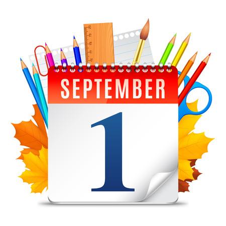 calendario escolar: Símbolos Educación detrás de calendario con fecha de septiembre primero