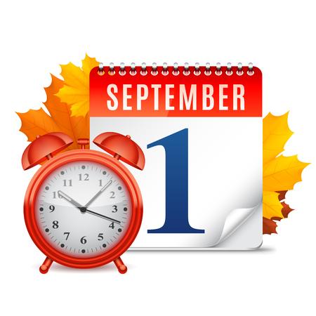 calendario escolar: Hojas de otoño detrás de despertador y calendario con fecha de septiembre primero Vectores